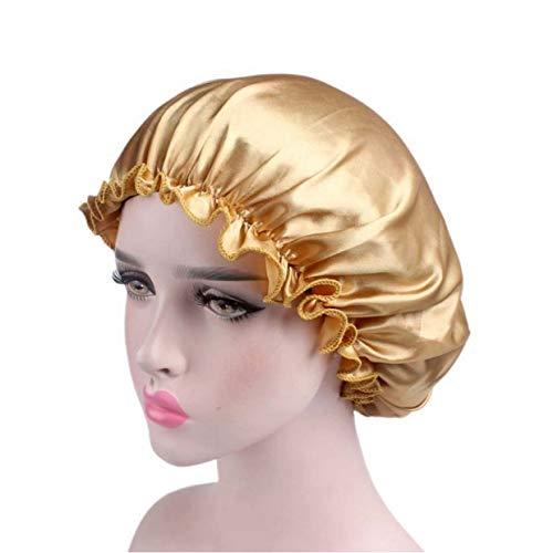 Mieuid dames satijn goede elastische cosmetische brede band chic pet haarverzorging kap haaruitvalcap (Beige)