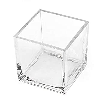 CYS EXCEL Glass Cube Vase 6 x6 x6  | Square Wedding Flower Vase Centerpieces | Cubic Glass Candle Holder