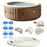 Intex PureSpa 4 Person Inflatable Hot Tub Spa Kit with Cover & Filter Cartridges