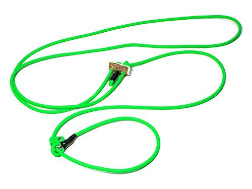 Mystique® Biothane Hunting Profi lautlos Umhängeleine 280cm Moxon mit Zugbegrenzung (8mm, neon grün)