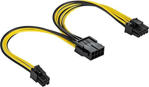 Poppstar CPU-Kabel 8-Pin auf 8 + 4-Pin (Länge 20 cm) Netzteil-Verlängerungskabel ATX 12V / EPS 12V