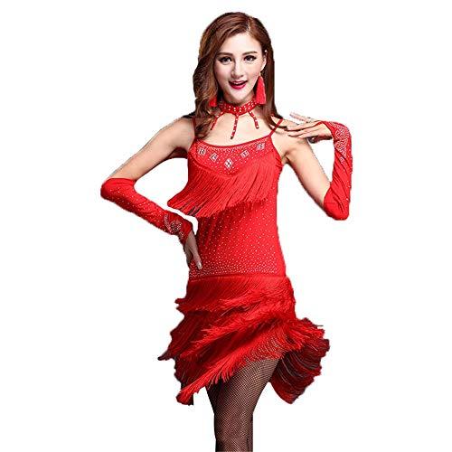 Vestido De Baile De Tango Las Mujeres Fluyen Sula Ding Pantalones De Vestir Danza Moldeado Sin Mangas De La Aleta Bailan El Tango Ropa Ropa De Danza Lombardía (Color : Rose Red, Size : M)