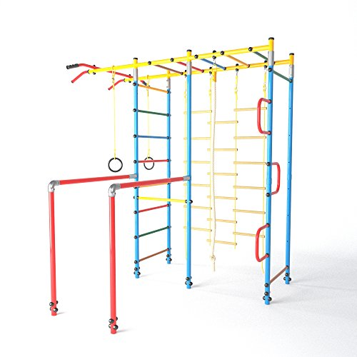"Gymnastic Equipment Outdoor Turn Station FitTop ""Climbing Island"" Climbing Frame Children Sports Equipment for Garden with Pull Up Bar incl. Gymnastic Rings Climbing Rope Climbing Net"