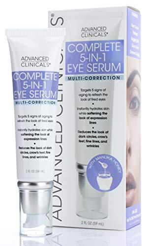 Advanced Clinicals 5-in-1 Multi Correction Anti-Aging Eye Serum w/Retinol, Collagen, Vitamin C, & Manuka Honey. For dark circles, wrinkles, crow's feet, fine lines. (2oz)