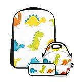 Mochila escolar,Arreglo Lindo y divertido juego de dinosaurios estilo de dibujos animados colorido tema de guardería para niños,con bolsa de almuerzo y estuche para lápices para mochila