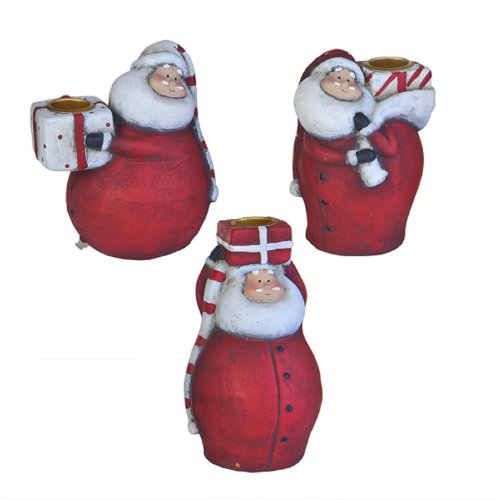 Sia Home Bougeoir Père Noël Rouge 15,5 cm