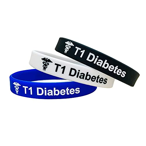 Butler & Grace Type 1 Diabetes T1 Diabetic 180mm Silikon Medizinische Armband. Notfall Armband fur Herren Damen 8 Zoll 202 mm (3 im Satz - Schwarz Weiss Blau, 180)