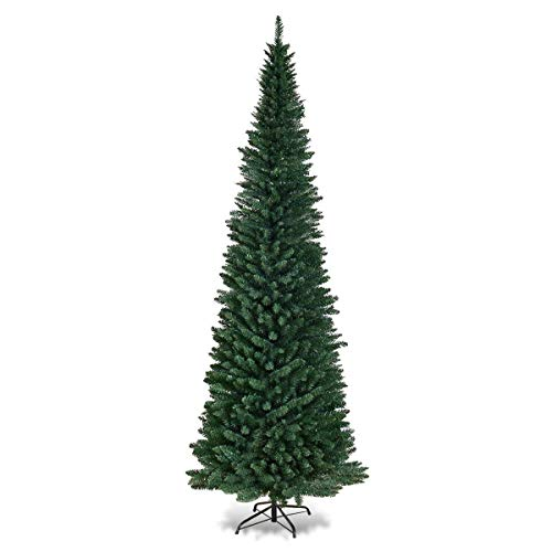 COSTWAY 9FT PVC Artificial Pencil Christmas Slim Tree w/Metal Stand for Indoor and Outdoor, Green