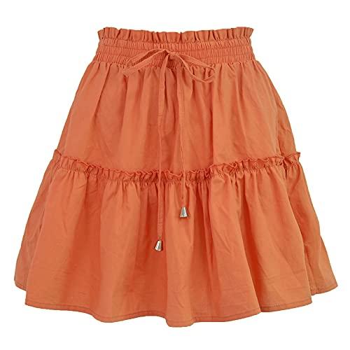 Falda Corta Casual De Moda para Mujer Falda De Color SóLido EláStico De Cintura Alta