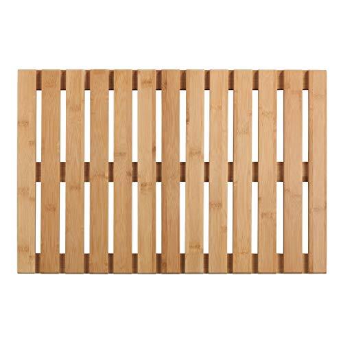 WENKO Caillebotis Bambou - Tapis de bain, caillebotis pour la douche, salle de bain, piscine, sauna, avec face inférieure antidérapante, Bambou, 40 x 60 cm, naturel