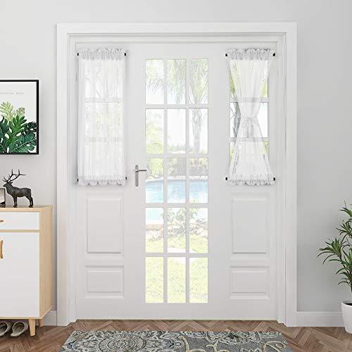 Tende Finestre Soggiorno Voile Tende Casa Moderne per Camera 64 * 102 cm Bianco 2 Pannelli