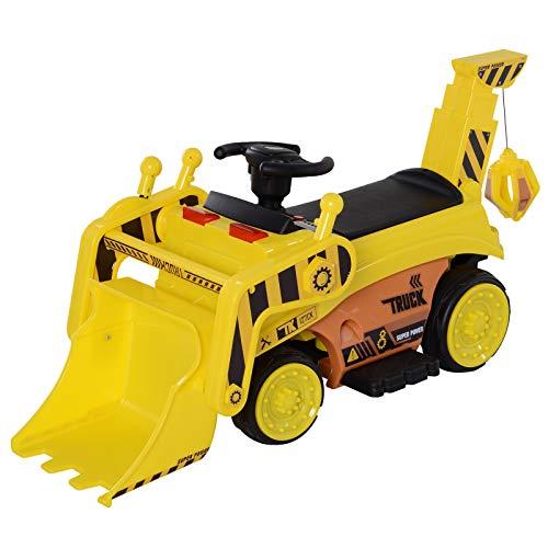 HOMCOM Tractor Eléctrico para Niños con Música y Luces Coche Eléctrico con Pala Masiva Batería 6V Carga 30kg 3 Años+