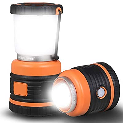 FosPower Camping Lantern (1000LM) Battery Powered LED Lights, Hangable Outdoor Lamp Emergency Light with up to 16 Hours of Usage for Camping, Outdoors, Indoors - Black/Orange