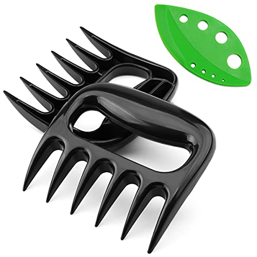 Dvcline 2-Pack Bear Paws Meat Shredding Claws with Herb Leaf Stripper, Meat Claws for Shredding Pulling Handing Serving Pork - BPA Free BBQ Grill and Smoker Accessories, Turkey, Chicken, Brisket