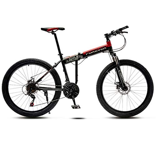 Folding Mountain Bike for Men Women, 21 Speed High Carbon Steel Frame Bicycle, Fully Suspention, Double Disc Brake, Adult Off-Road Mountain Bike,C,24 INCH
