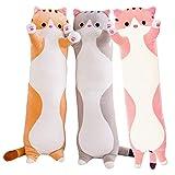 Shayon Cat Soft Pillow Plush Long Throw Sleeping Pillow Cotton Kitten Pillow Cuddly Stuffed Cute Plush Doll Toy Gift for Kids Girlfriend (Yellow,110cm)