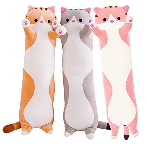 Soulee Cartoon Katze weich Plüsch langes Kissen ausgestopftes Tier Kissen Plüschtier … (Pink, 110cm/43.30in)