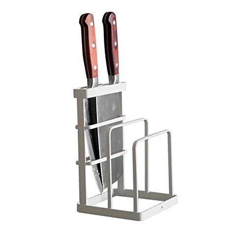 VANRA Metal Steel Cutting Board Holder Knife Block Kitchen Organizer Pantry Bakeware Rack Pan Pot Cover Lid Rack Stand White