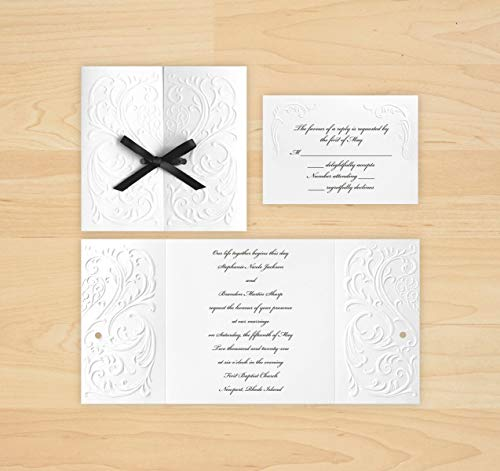 Versailles Wedding Invitation & RSVP with Envelopes (White) - Set of 25 - AV1172