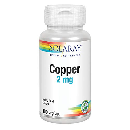 Solaray Copper 2 mg | Healthy Red Blood Cell Formation, Immune and Nerve Function Support | Non-GMO | 100ct, 100 Serv.