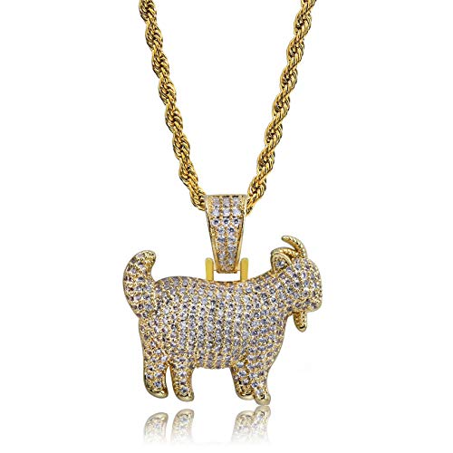 TOPGRILLZ Hip Hop 14K Gold Plated Iced out Simulated Diamond Eagle Goat Pendant Necklace for Men Hip Hop (Gold Goat)
