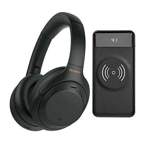 Sony WH-1000XM4 Wireless Noise Canceling Over-Ear Headphones (Black) with Focus 10,000mAh Ultra-Portable LED Display Wireless Quick Charge Battery Bank Bundle (2 Items)
