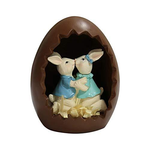 D/L Simpatico Coniglietto nell'uovo Decorazione del Giorno di Pasqua, Figurina di Coniglio Che bacia Statua in Resina Regalo,Stile retrò e Rustico Decorazione di Pasqua di Primavera per la casa,