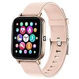 PUBU Smartwatch,Touch-Farbdisplay Fitness Armbanduhr mit Pulsuhr Fitness Tracker IP67 Wasserdicht Bluetooth schrittzähler,Sportuhr Smart Watch für Damen Herren (Pink)