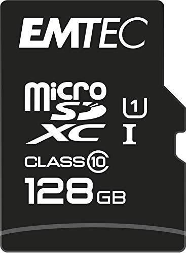 EMTEC ECMSDM128GXC10GP - Carte microSD - Classe 10 - Gamme Elite Gold - UHS-I U1 - Avec adaptateur Performance - Vitesse de lecture jusqu'à 85MB/s -Noir/Or - 128 Gb
