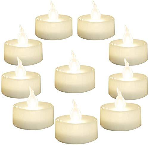 Juego de 24 velas LED de te sin llama con luz blanca calida, diametro de 1,4 cm, velas falsas para votiva, boda, fiesta, mesa, comedor, regalo