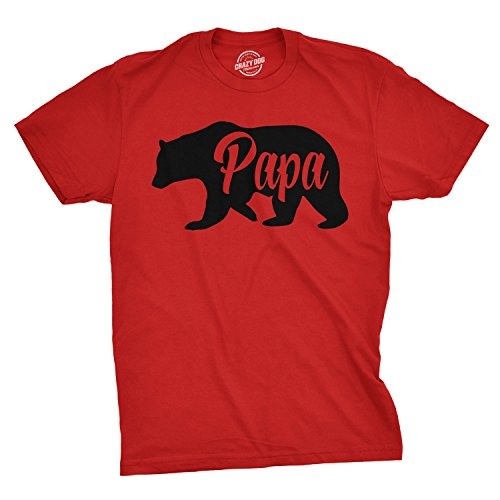Mens Papa Bear Funny Shirts for Dads Gift Idea Humor Novelty Tees Family T Shirt (Heather Red) - 4XL
