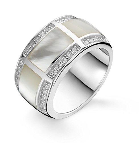 Ti Sento Rhodium vergulde sterling zilveren ring met zirkonia en parelmoer stenen-1346MW