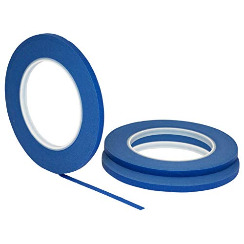 """3 pk 1/4"""" inch x 60yd STIKK Blue Painters Tape 14 Day Easy Removal Trim Edge Thin Narrow Finishing Masking Tape (.25 in 6MM)"""