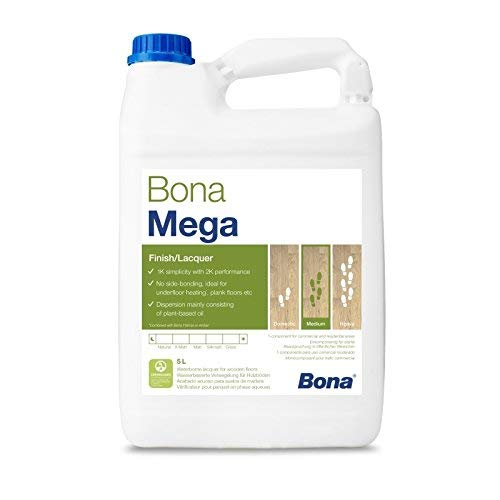 Bona Mega Parkettlack - halbmatt - 5 Liter - Versiegelung, 1 K Parkettlack, Wasserlack