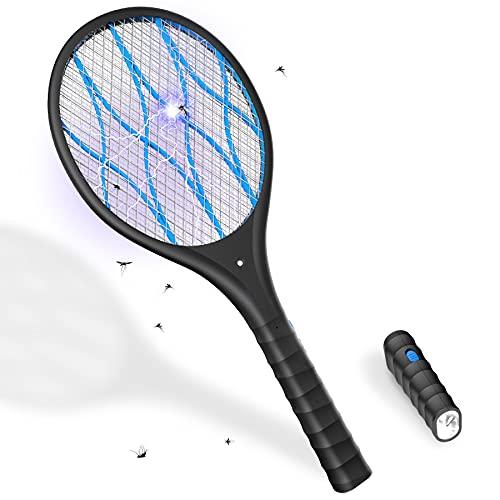 Elektrische Fliegenklatsche, KOXXBASE Insektenvernichter elektrisch, 4000V USB Fliegenfänger Zapper mit LED Beleuchtung und Abnehmbarer Taschenlampe für Mücken, Fliegen -Doppelte Schichten Mesh Schutz