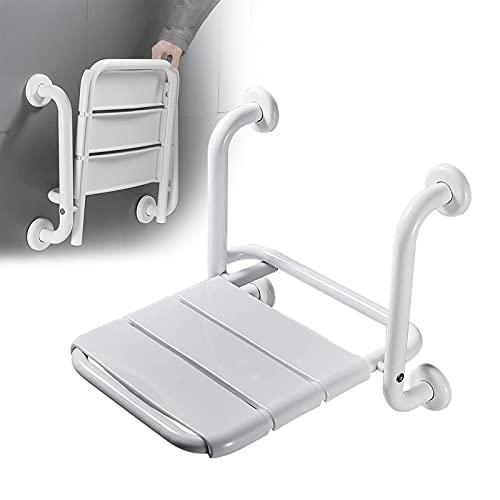 RYUNQ Asiento de Ducha Plegable para baño, Silla de Ducha con apoyabrazos Montado en la Pared, Asiento de Pared de...