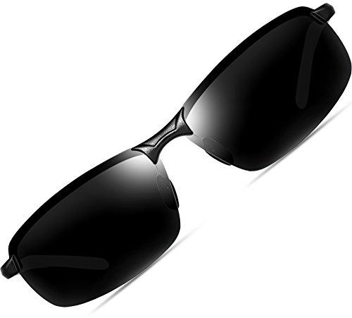 ATTCL Herren Hohe Qualität Ultraleicht Al Mg Rahmenantriebs Polarisierten Sonnenbrillen 18143 Schwarz