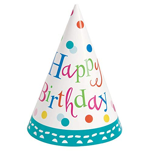 Partyhüte - Konfetti-Torte Geburtstagsparty - 8er-Pack