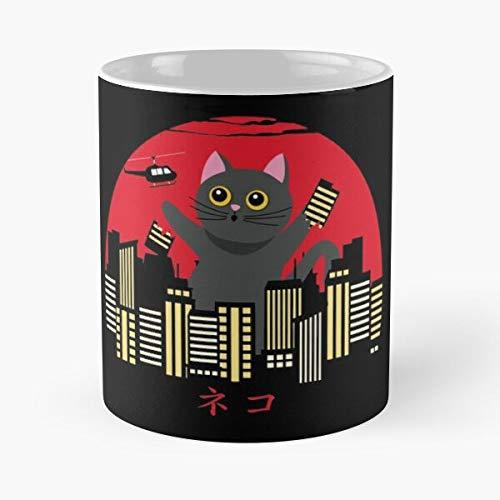 Taza de café de cerámica de 325 ml, diseño de animales y gatos