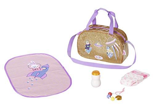 Zapf Creation 831106 BABY born Happy Birthday goldene Wickeltasche mit Wickelunterlage, Windel und Zubehör