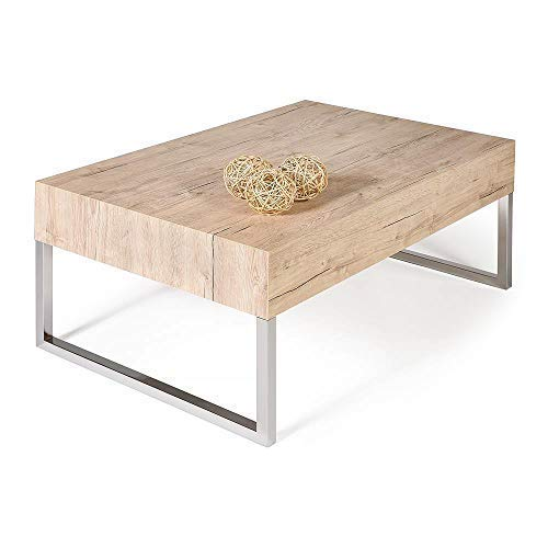 Mobilifiver Mesa de Centro, Modelo EVO XL, Color Roble Natural, 90 x 60 x 40 cm