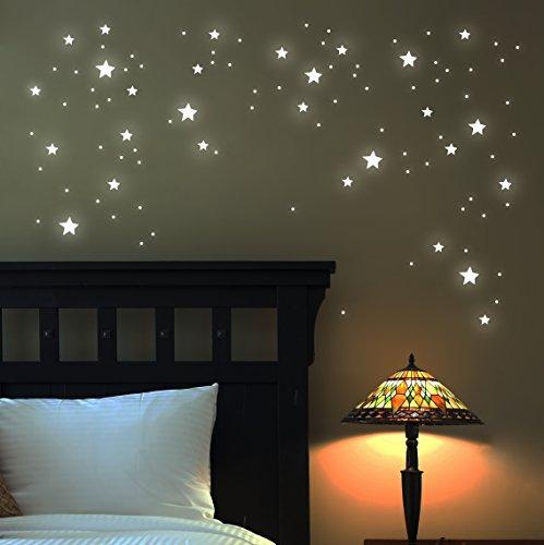 Leuchtsterne Wandtattoo Sterne 100 STK. fluoreszierend leuchtende Sterne Sternenhimmel Sternensticker M1169
