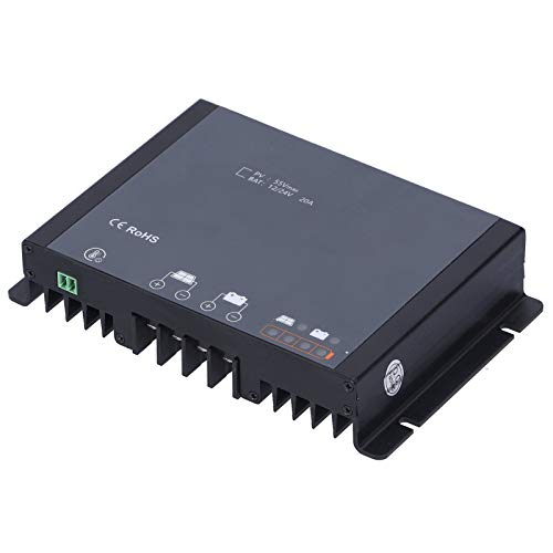 Weiyiroty Controlador de Carga Solar 20A - DC12 / 24V Impermeable MPPT Regulador de Panel Solar Enfoque AutomáTico Controladores de Carga con Bluetooth Monitoreo InaláMbrico para RV Yate Casa