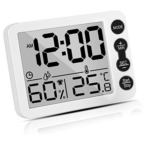 Uarter Higrómetro Termómetro Digital, Interior Termohigrómetro con Gran LCD Pantalla, Función Reloj de Alarma, Medidor de Temperatura Humedad para Casa y Oficina, Dormitorio Infantil