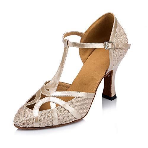 Meijili Damen High Heel Schuhe Salsa Tango Modernes Ballrom Latein Tanzschuhe, Gr.-40 EU/ 6.5 UK, Champagne mesh