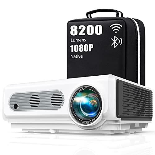 Vidéoprojecteur WiFi Bluetooth Full HD 1080P,8200 Lumens TOPTRO 5G Rétroprojecteur Supporte 4K ,Projecteur Compatible iPhone Android Téléphone, Zoom X/Y, 300'' Display Home Cinéma Outdoor Film