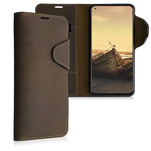 kalibri Wallet Hülle kompatibel mit Xiaomi Mi 10T / Mi 10T Pro - Hülle Leder - Handy Cover Handyhülle in Braun