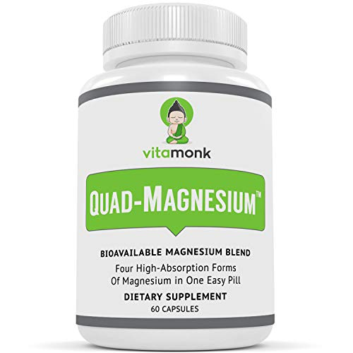 Quad Magnesium™ Supplement Blend - High Absorption Magnesium Complex with Glycinate Chelate, Orotate, Taurate and Dimagnesium Malate for Sleep, Stress Relief, Heart Health, Anxiety & Mood - Vitamonk
