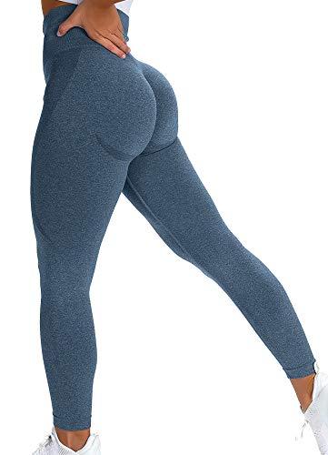 INSTINNCT Damen Scrunch Butt Leggings Booty Lifting Laufhose Sportstrumpfhosen Po Push Up Tights Yoga Pants Fitnesshose Yogahose Jogging Running Workout Training Gym Fitness Bläulich M