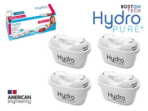 Boston Tech 4 Cartuchos Hydro Pure+, filtros de Agua compatibles con Jarras Brita Maxtra y Maxtra+, Efecto Prolongado (8 Meses, 4 x 60 días Cada Filtro) reducen la Cal y el Cloro. Gran Sabor